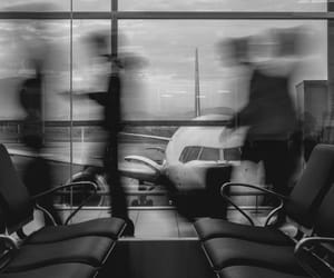airport, black and white, and people image