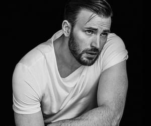 chris evans, black and white, and captain america image