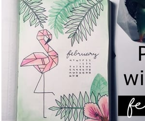 flamingo, bullet journal, and february bullet journal image