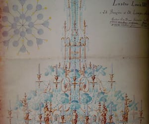 blue, chandelier, and versailles image