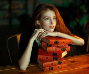redhead blue eyes, red books, and i like big books image