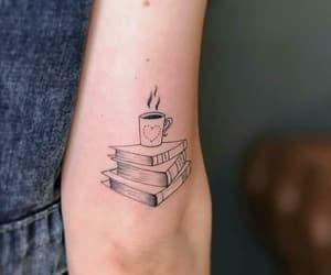 books, coffee, and tattoo image