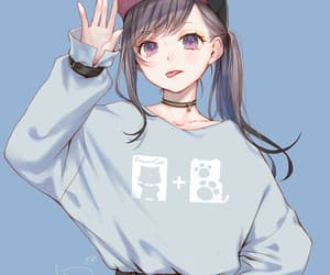 anime girl, digital art, and background image