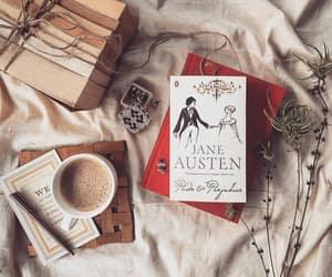 books, coffee, and girl image
