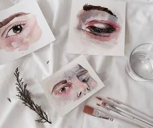 art, eyes, and pink image