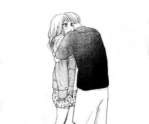black&white, hug, and manga girl image