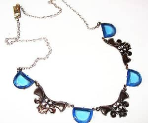 etsy, vintage jewelry, and blue glass necklace image