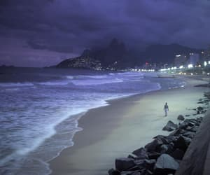 beach, night, and sea image