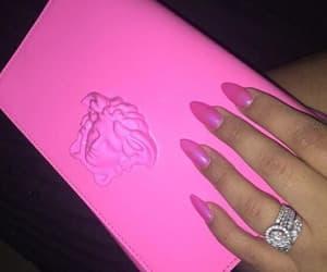 bag, hand bag, and pink image