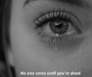 black and white, crying, and depressed image