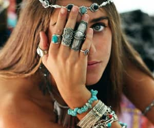 girl, rings, and boho image