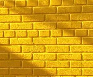 wallpaper, yellow, and brick image