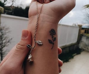 rose, tattoo, and necklace image