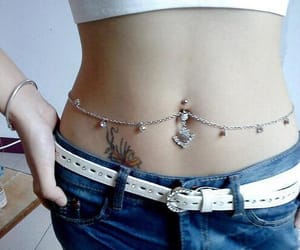 belly, jewelry, and chain image