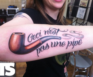 girl, pipe, and tattoo image