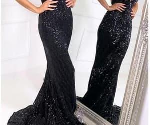 evening dress, sequin prom dress, and black prom dress image