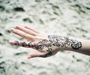 tattoo, hand, and henna image