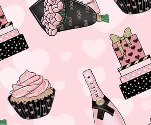 champagne, cupcake, and flores image