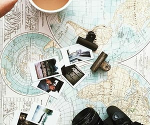 map, travel, and coffee image