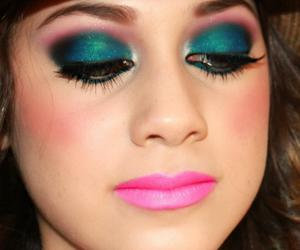 colorful, turquoise, and mac make up image
