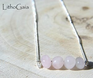 etsy, 925 sterling silver, and rose quartz necklace image