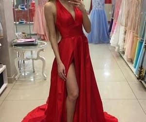 prom dress, red prom dress, and prom gown image