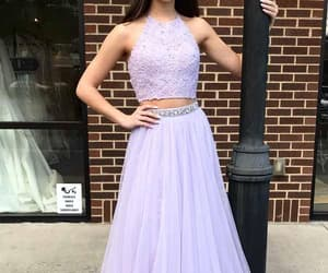 chiffon prom dress, prom dress long, and two pieces prom dress image