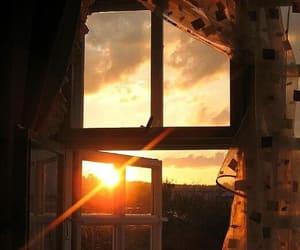 window, sunset, and photography image