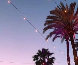 california, lights, and sunset image