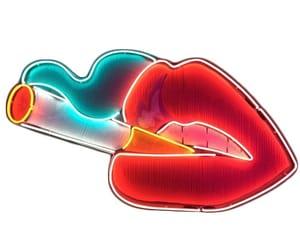 lips, neon, and cigarette image