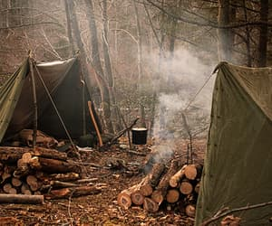 camping, nature, and wood image