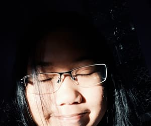 black hair, girl glasses, and Sunny image