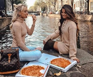 pizza, girl, and friendship image
