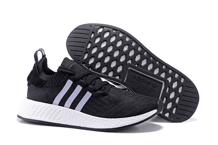 really comfortable lace up in retail prices Mens Womens Adidas NMD R2 Running Shoes Black White