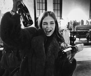 girl, black and white, and drink image