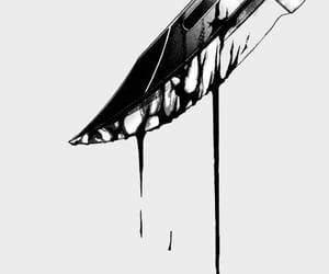 knife, anime, and black and white image