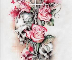 skull, pink, and rose image