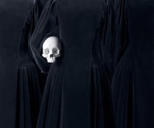 b&w, black, and skull image