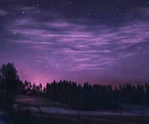 landscape, night, and purple image