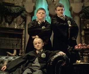 harry potter, draco malfoy, and goyle image
