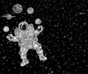 alone, astronaut, and black image