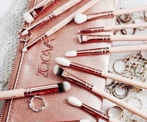 Brushes, rose gold, and aesthetic pink image