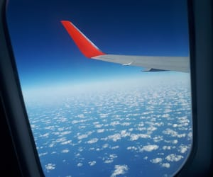 airplane, blue, and cloud image