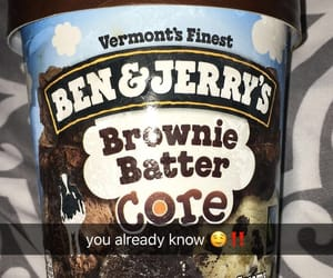 ben and jerrys, brownie, and ice cream image