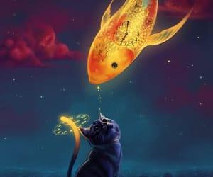 fish, cat, and art image