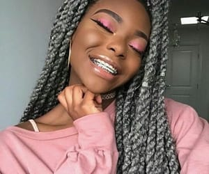 pink, braces, and girly image