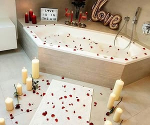 love, romantic, and bathroom image