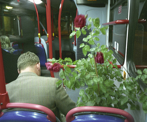 bus, flowers, and plant image