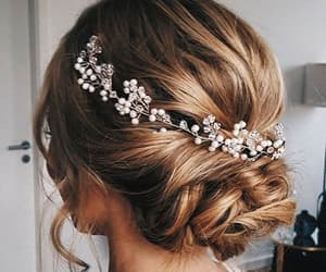 hair, hairstyle, and wedding image