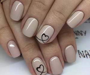 nails, heart nails, and Nude image